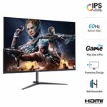 Thinlerain 27″ Moniteur sans cadre 1440p IPS LED écran large 2K Gaming Monitor (FreeSync, 100% sRGB, HDMI/VGA Dispalyport, 2560 x 1440, 60 Hz) Noir