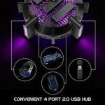 ENHANCE Support de Câbles Bungee Pro Souris Gaming avec 4 Ports Hub USB, Bras Métallique Flexible, 7 Modes d'Eclairage LED, Gestion de Câbles pour Souris, Idéal pour Amateurs et Professionnels eSports