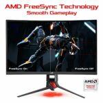 ASUS ROG XG27VQ – Ecran PC gaming eSport 27″ – Dalle VA incurvée 1800R – 16:9 – 144Hz – 1ms – 1920×1080 – Display Port, HDMI et DVI – Haut-parleurs – AMD FreeSync – Aura RGB