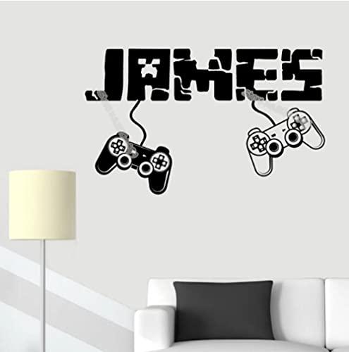 Autocollant mural avec nom personnalisé pour joueur de manettes de jeu vidéo 56 x 35 cm