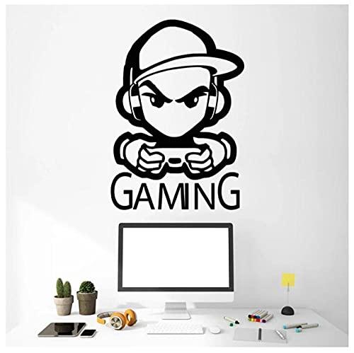 Autocollant Mural Sticker Mural Amovibles DIY Jeu Stickers Mural Sticker Decal Gamer Casques Garçons Enfants Jouer À La Chambre Décor Gaming Mural 53X86cm