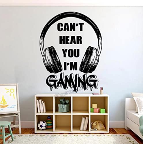 Sticker mural en vinyle avec inscription « Can't Hear You I'm Gaming » pour chambre d'enfant 42 x 32 cm