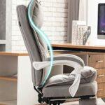 Chaise de bureau ergonomique avec soutien lombaire pour gamer et jouer à la maison et au travail en cuir synthétique (coloris : bleu)