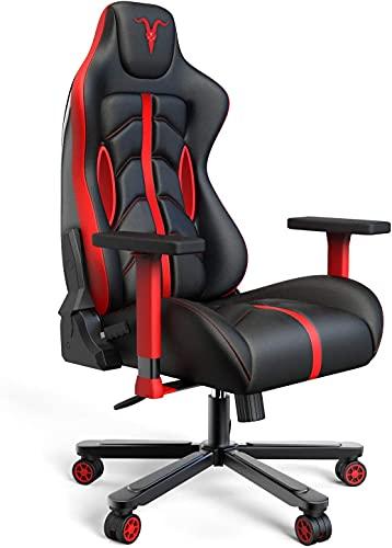 Chaise Gaming de Bureau Chaise de Course, 4D réglables en Cuir PU Fauteuil Ergonomique pivotant, siège à roulettes avec Dossier inclinable Game Chair (Black&Red G)