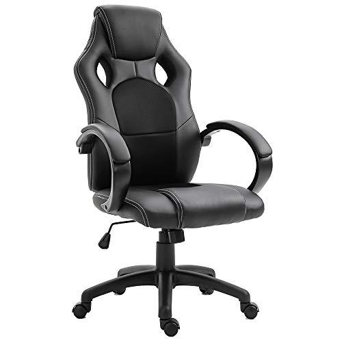 DEWINNER Chaise de Gamer Ergonomique Fauteuil de Bureau Siège Baquet Gaming (Noir)