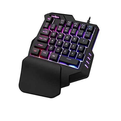 haixclvyE G92 Clavier de gaming 35 touches rétroéclairé à une main avec clavier de jeu filaire USB et repose-poignet noir