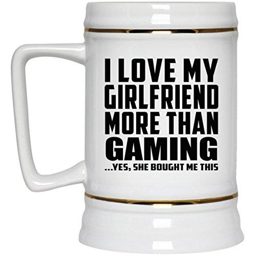 I Love My Girlfriend More Than Gaming – Beer Stein Chope De Bière Chope En Céramique Mug Pour Bar – Cadeau pour Anniversaire Fête des Mères Fête des Pères