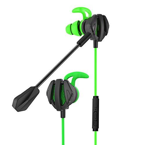 Tidystore Casque de gaming 3,5 mm en silicone intra-auriculaire avec microphone pour dîner au poulet professionnel Noir/vert