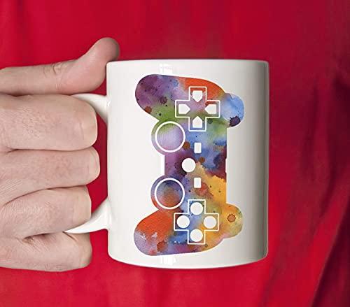 Contrôleur de jeu Mug Cadeau de joueur de jeu vidéo Joueur de jeu vidéo Tasse d'art aquarelle Contrôleur de jeu Tasse à café Cadeaux de joueur uniques 11oz