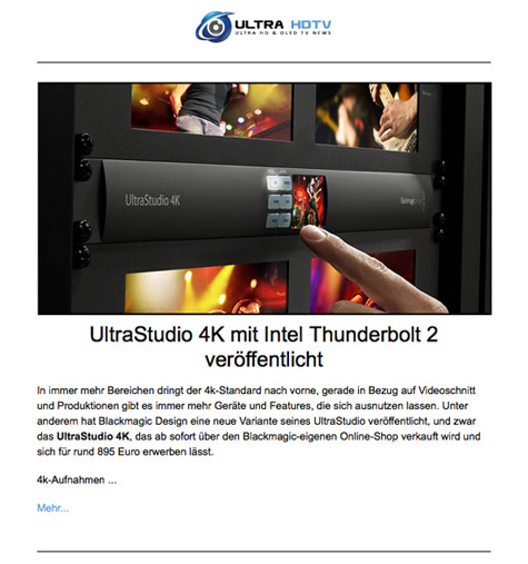 Ultra HD Newsletter Demobild