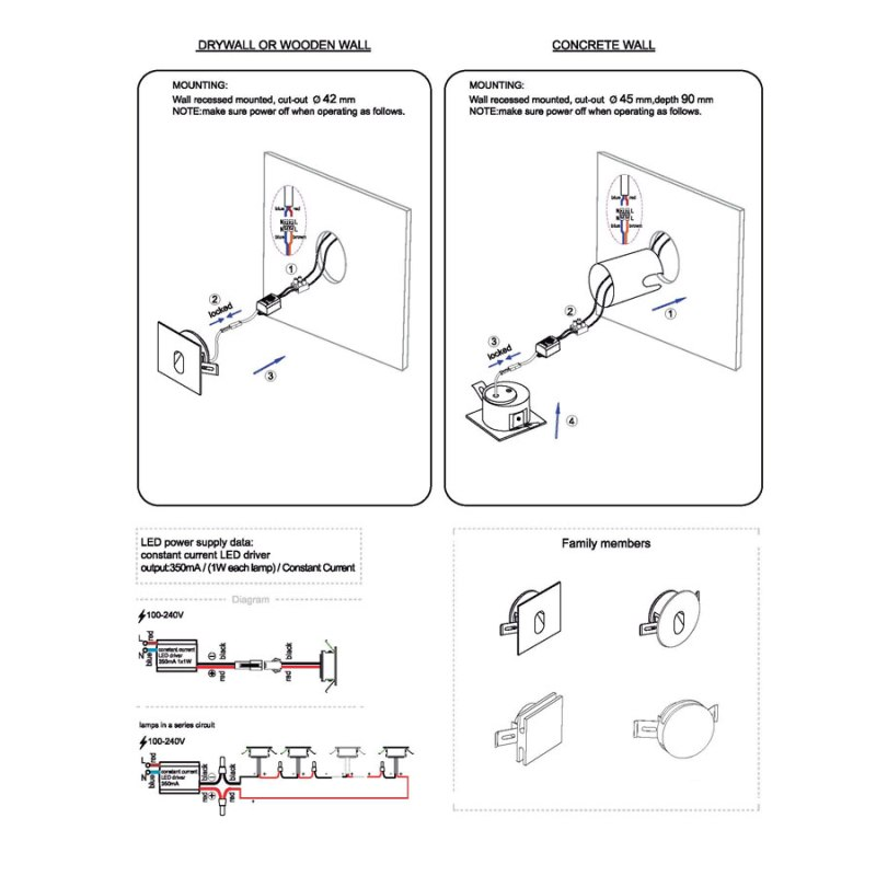 LSL001-LSL002 recessed led step light installation guide