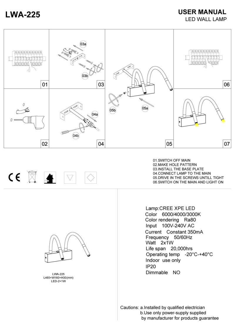 LWA-225 overbed LED reading light installation guide
