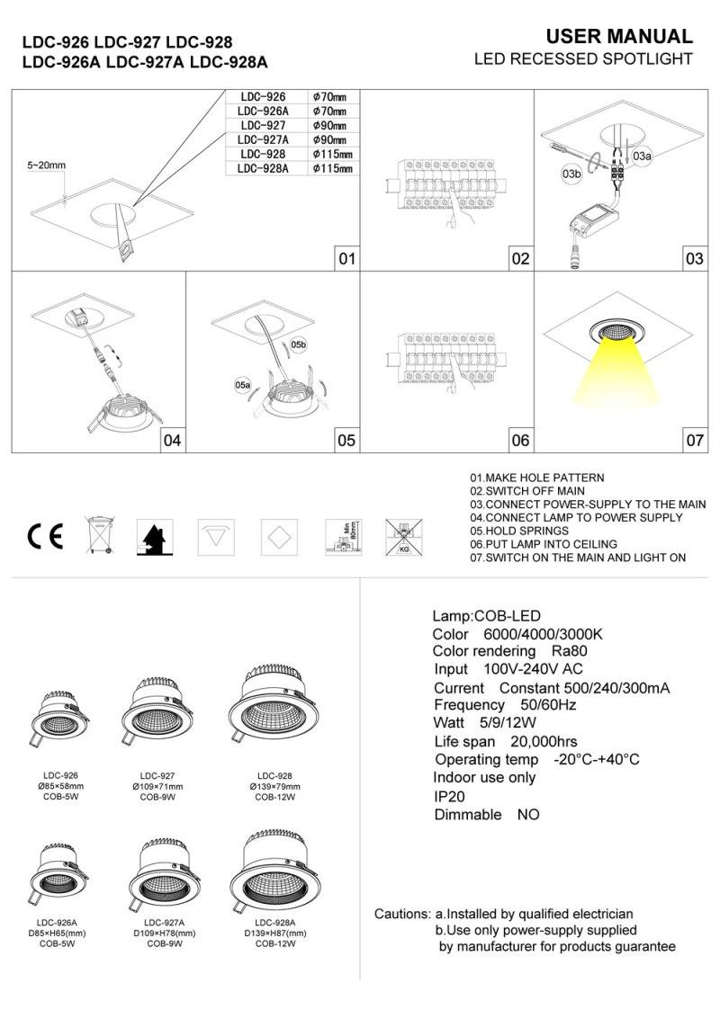 LDC926 LDC927 white recessed LED downlight