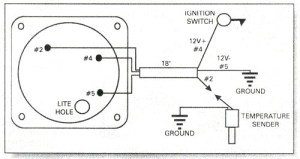 Water temperature gauge wiring diagram, Rotax 582 water