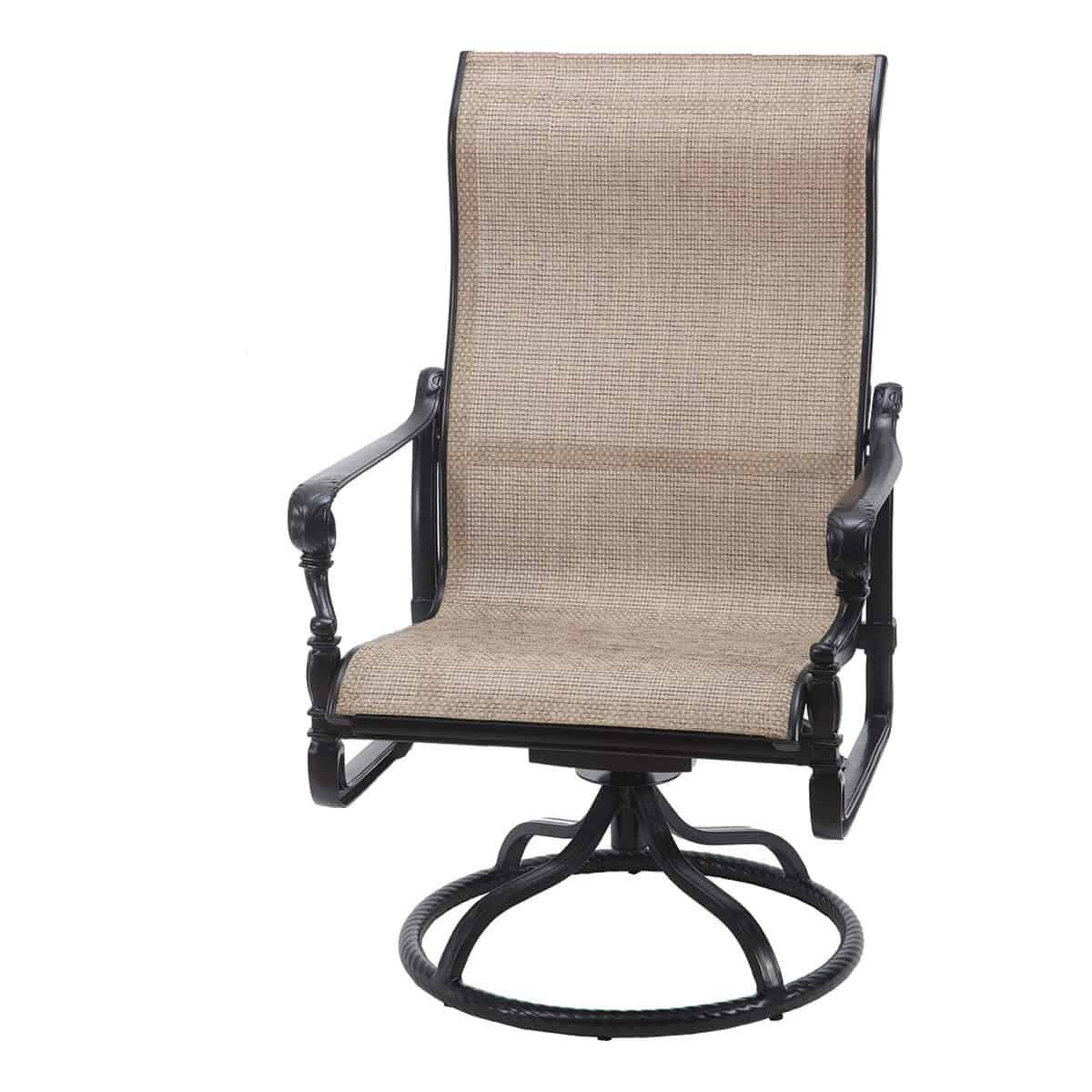 grand terrace sling high back swivel rocker lounge chair