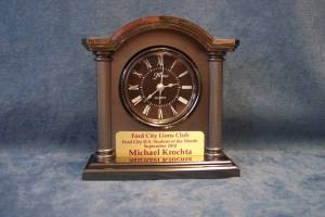 clock with personalized plaque