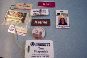 various different name badges