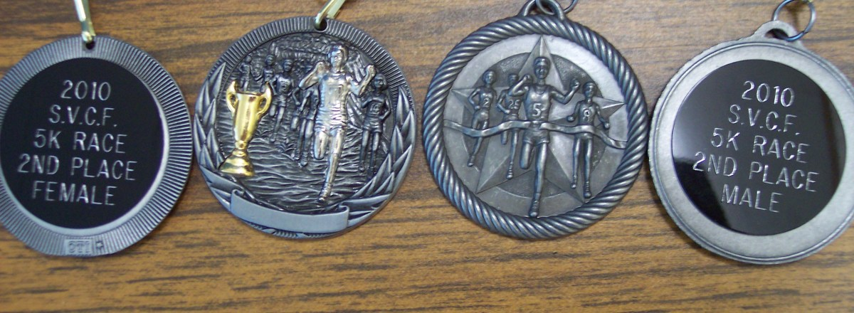 silver 5k race medals