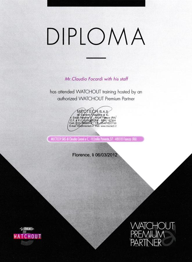 Diploma Dataton Watchout, Claudio Focardi UltraPrime