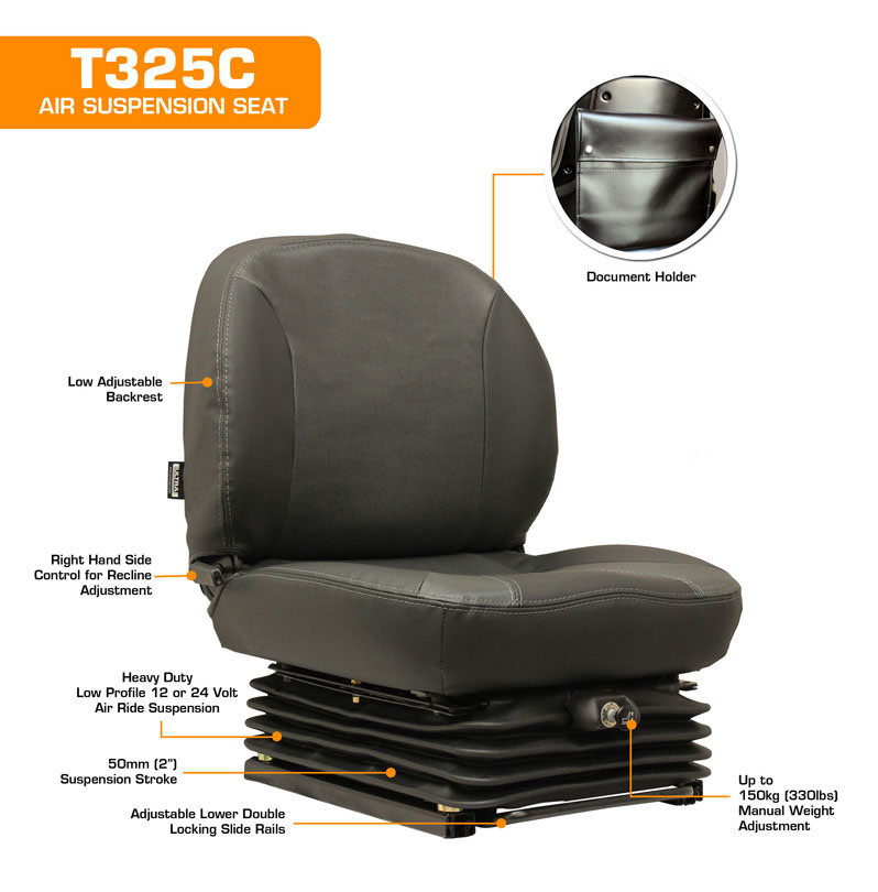 T325C Low Back Low Profile Air Suspension Seat