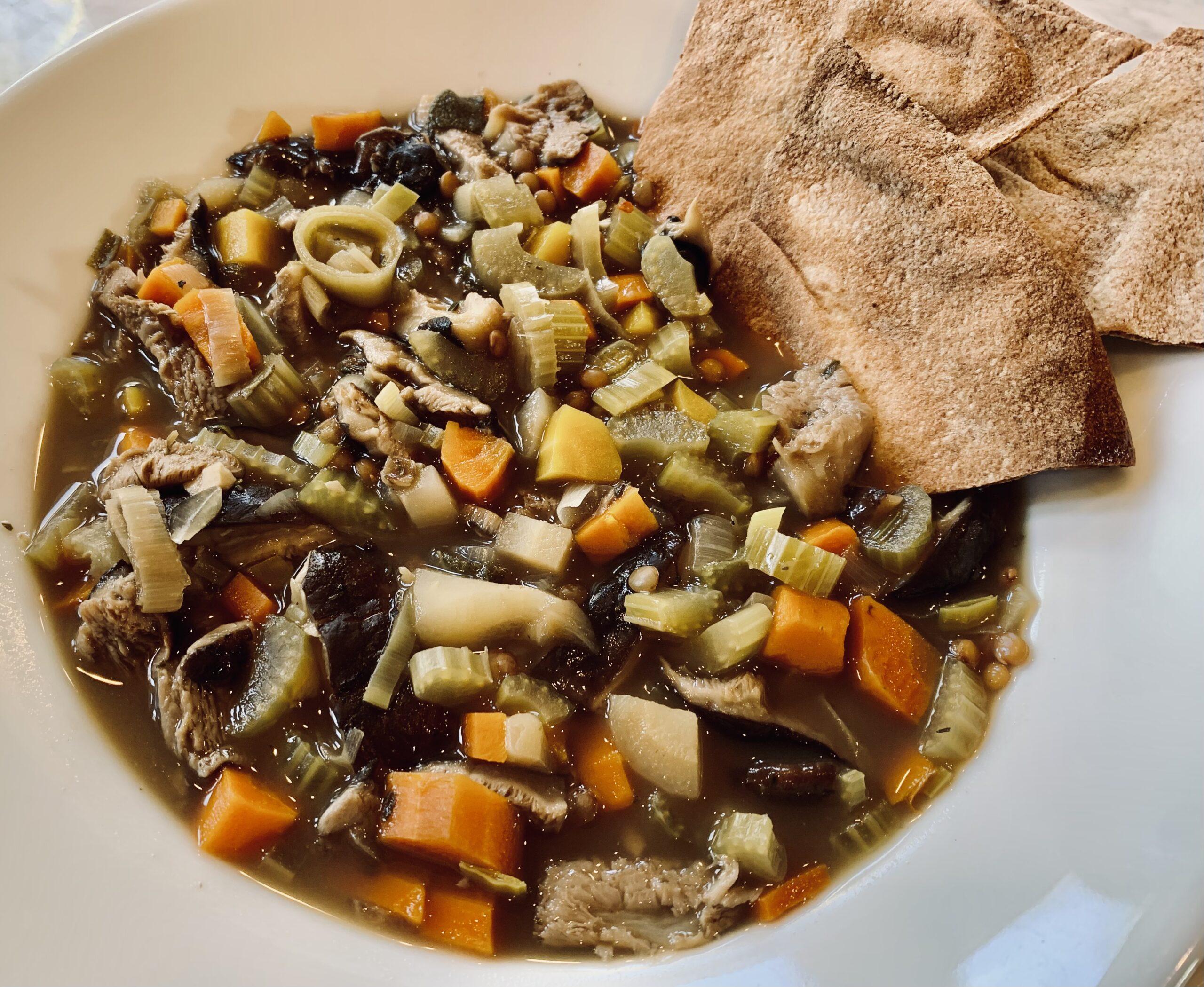 Shiitake Mushroom Lentil Soup