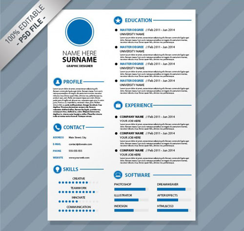 Best Free Creative Resume Templates Download - Visual cv templates free download