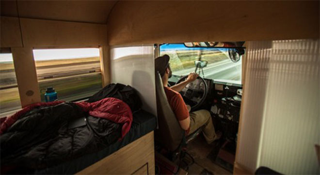 Studen Turns an Old School Bus into a Cozy Mobile Home