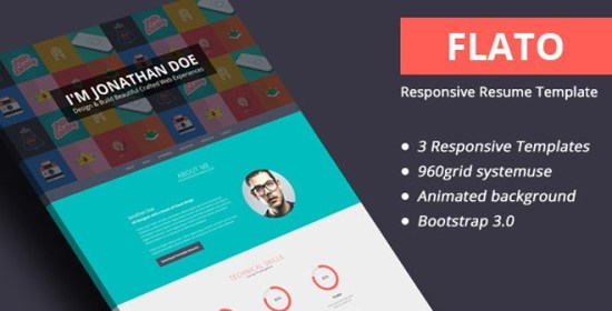 Freebie - Flato Responsive Online Flat CV & Resume Templates