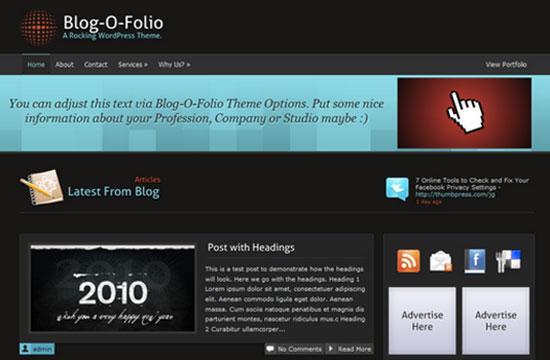 blog o folio worpress theme