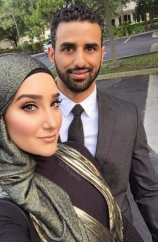 cute islamic couples selfie