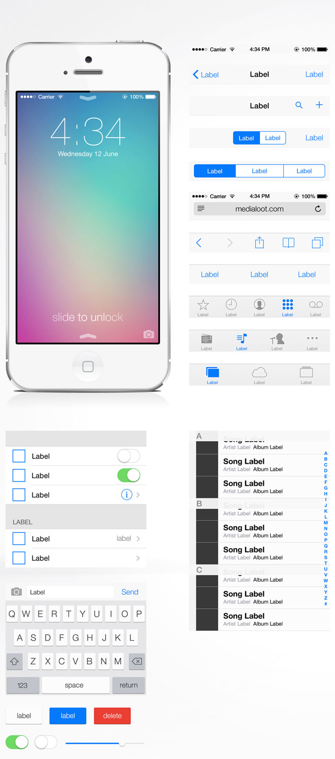 Download iOS 7 Free UI Kit