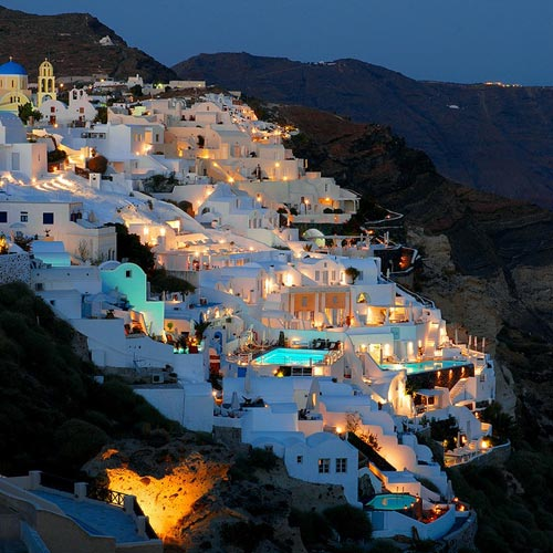 greece in night
