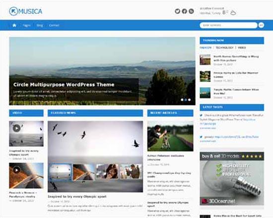 wordpress musica free theme