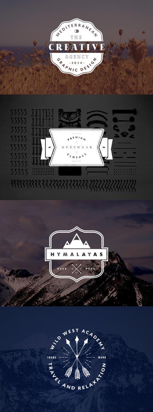 4 Vintage Logo Badges