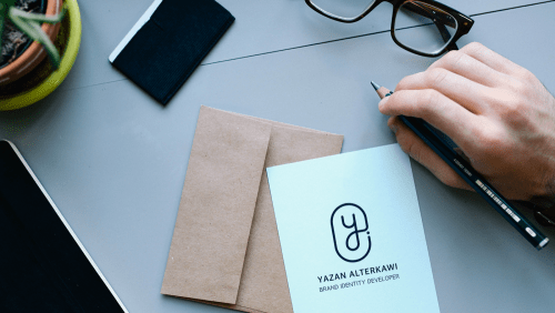 Logo Mockup on Blue Paper