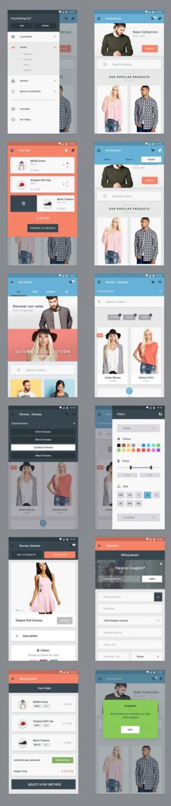 Free Ecommerce App UI Designs For App Developers
