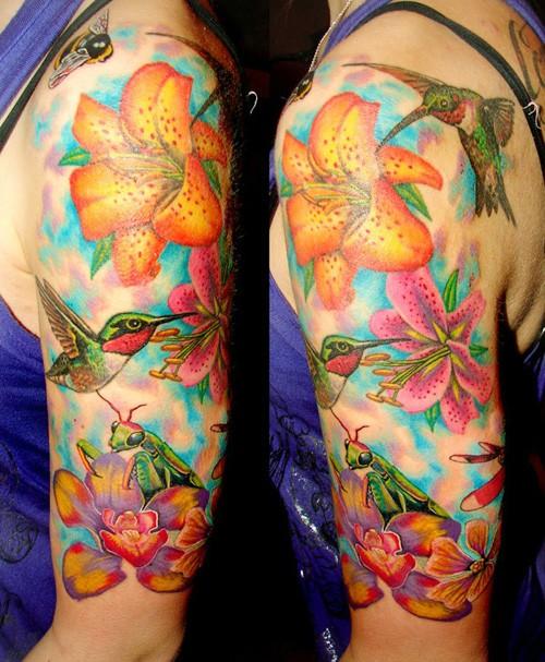 Flower-and-hummingbird-half-sleeve-tattoo