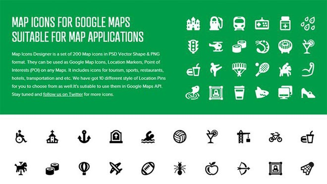 Icon Set For Map - Suitable For Google Map Application