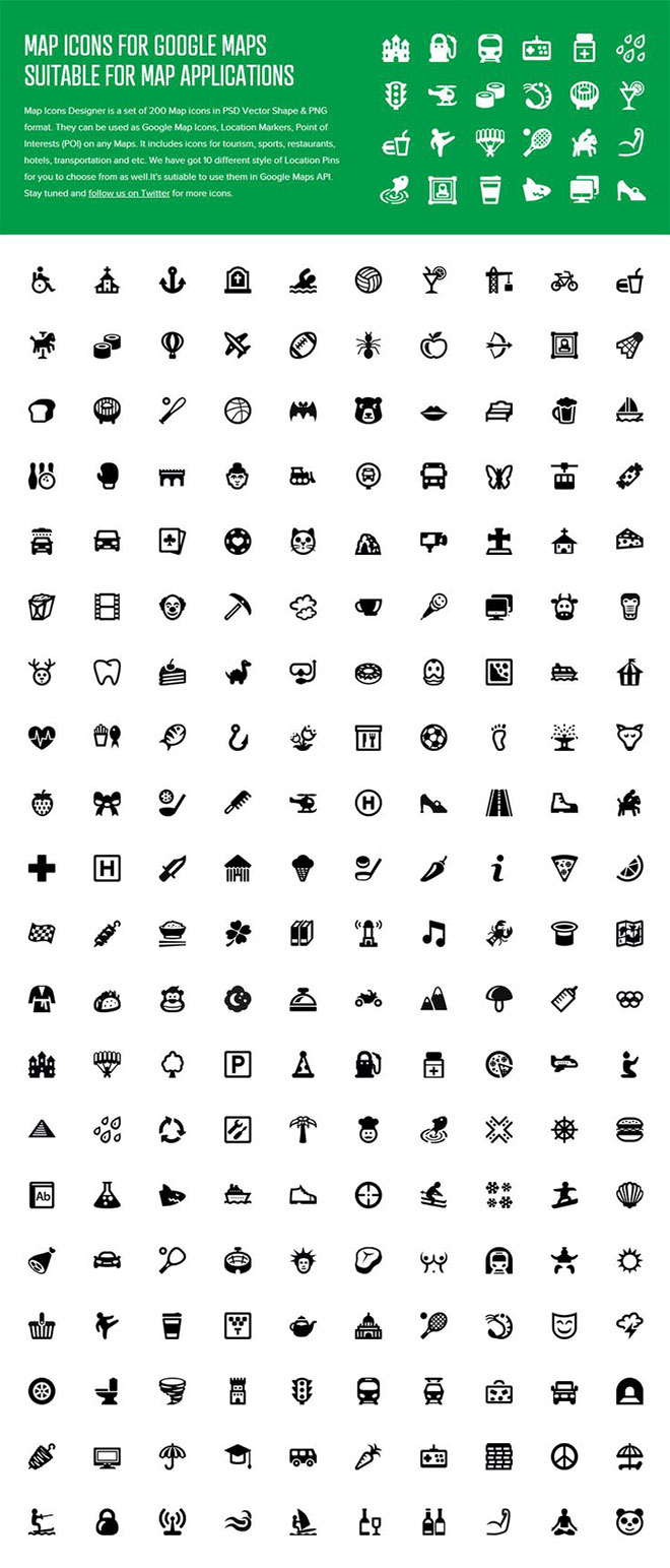 Icon Set For Map