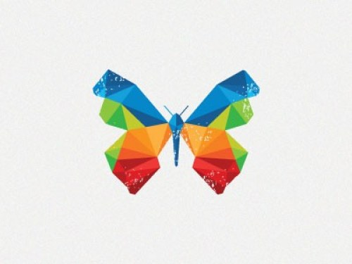flat colorful butterfly logo