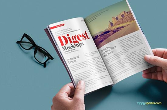 Free Digest-size Magazine PSD Mockup Template