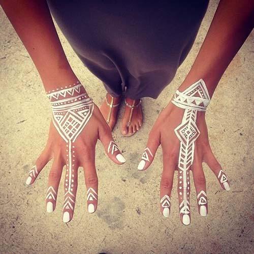 white henna design