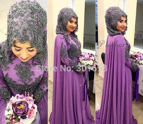 black purple heavy beaded high neck long sleeve muslim bridal wedding dress