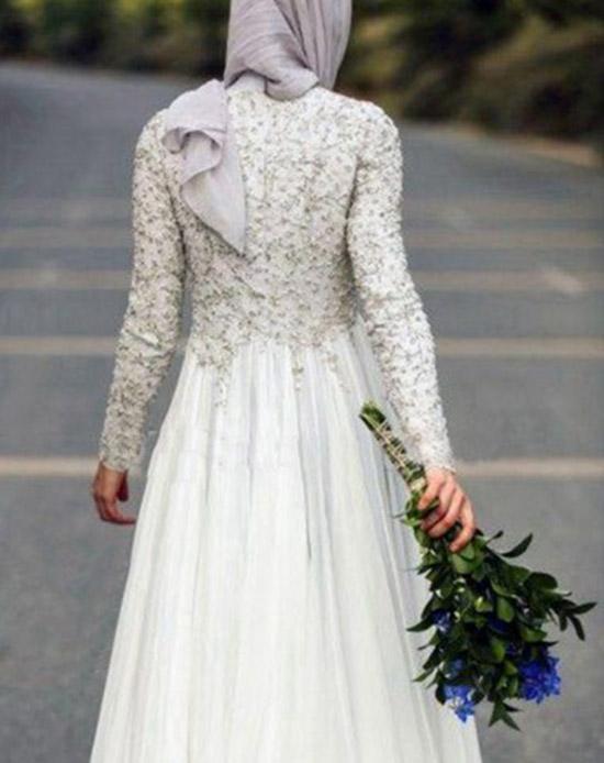 bohemian long sleeve muslim bridal dress 2