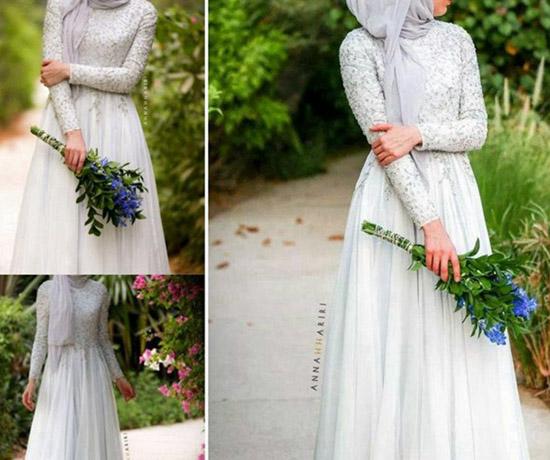 bohemian long sleeve muslim bridal dress