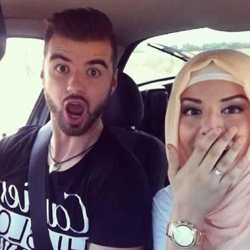 couple selfies in car