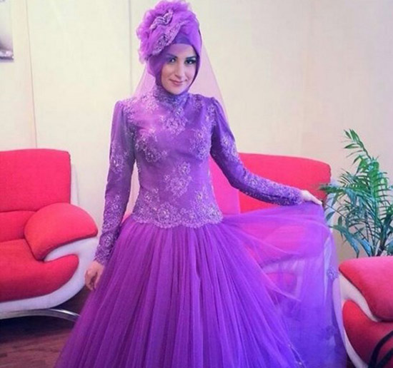 long lace sleeve islamic wedding dress