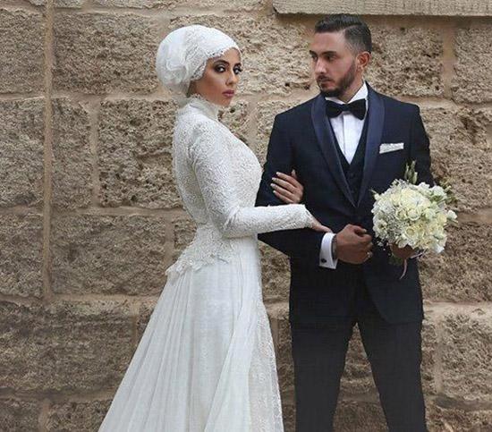 long sleeve bridal hijab wedding dress 2016