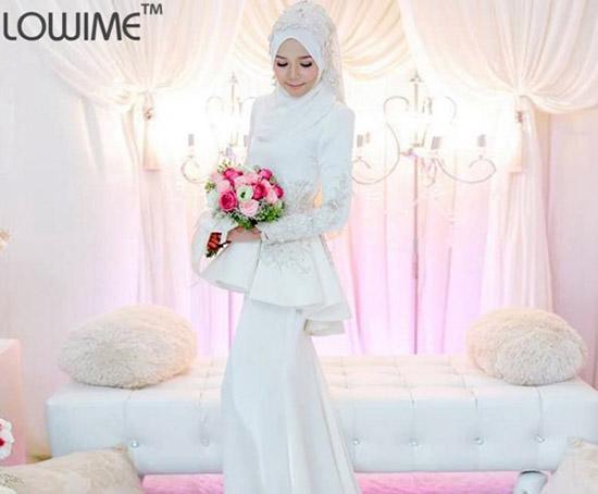 long sleeve muslimah wedding dress