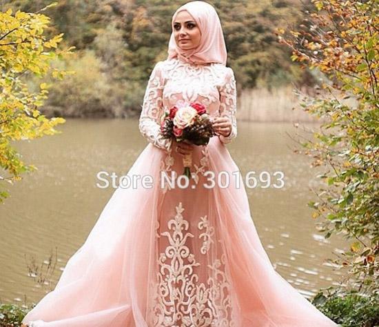 pink beaded high neck long sleeve hijab wedding dress